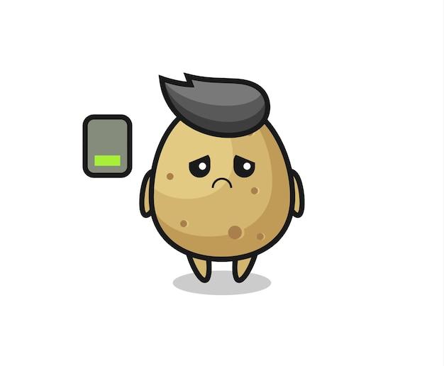 Personagem de mascote da batata fazendo um gesto cansado, design de estilo fofo para camiseta, adesivo, elemento de logotipo