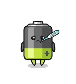 Personagem de mascote da bateria com quadro de febre, design de estilo fofo para camiseta, adesivo, elemento de logotipo