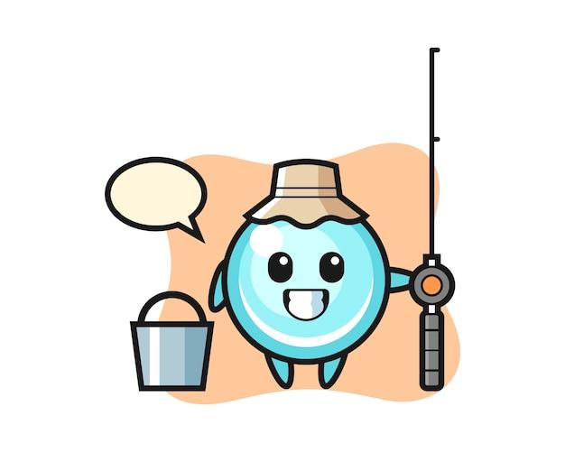 Personagem de mascote da bolha como um pescador, design de estilo bonito