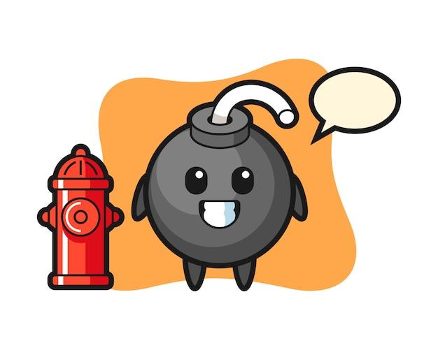 Personagem de mascote da bomba como bombeiro