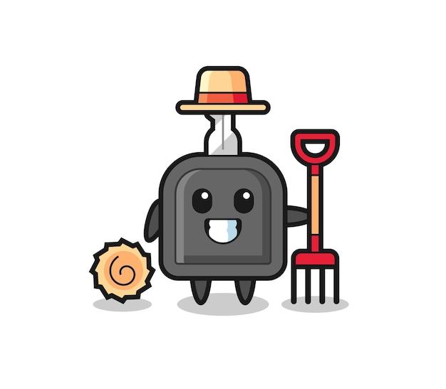 Personagem de mascote da chave do carro como agricultor, design de estilo fofo para camiseta, adesivo, elemento de logotipo