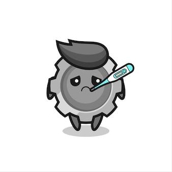 Personagem de mascote da engrenagem com quadro de febre, design de estilo fofo para camiseta, adesivo, elemento de logotipo