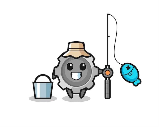 Personagem de mascote da engrenagem como um pescador, design de estilo fofo para camiseta, adesivo, elemento de logotipo