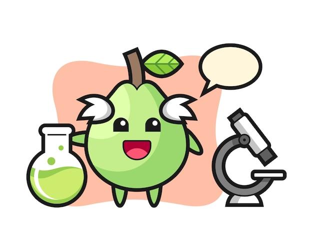 Personagem de mascote da goiaba como cientista, design de estilo bonito para camiseta, adesivo, elemento do logotipo