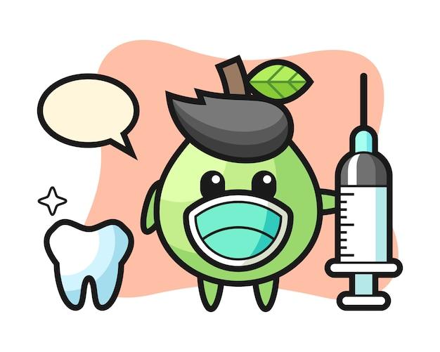 Personagem de mascote da goiaba como dentista, design de estilo bonito para camiseta, adesivo, elemento do logotipo