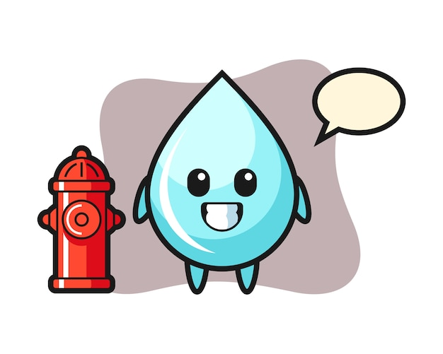 Personagem de mascote da gota de água como um bombeiro, design de estilo bonito para camiseta