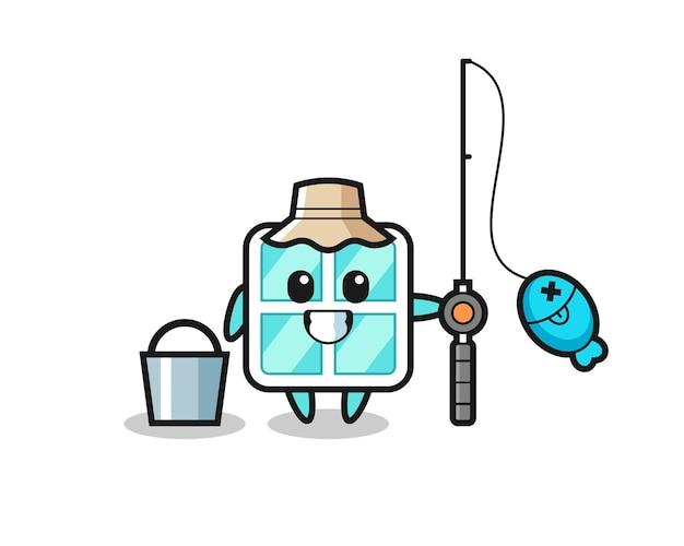 Personagem de mascote da janela como um pescador, design de estilo fofo para camiseta, adesivo, elemento de logotipo