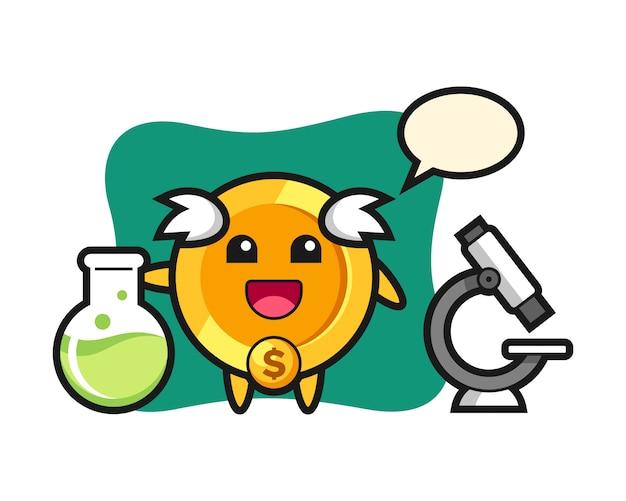 Personagem de mascote da moeda de um dólar como cientista