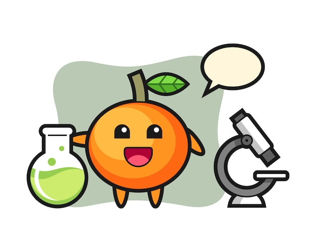 Personagem de mascote da tangerina como cientista, estilo fofo, adesivo, elemento de logotipo