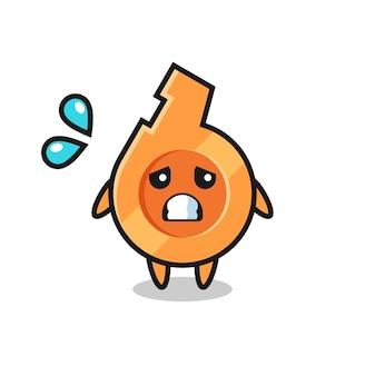 Personagem de mascote de apito com gesto de medo, design fofo