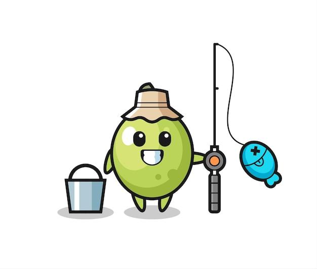 Personagem de mascote de azeitona como um pescador, design de estilo fofo para camiseta, adesivo, elemento de logotipo