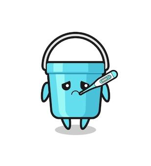 Personagem de mascote de balde de plástico com quadro de febre, design de estilo fofo para camiseta, adesivo, elemento de logotipo