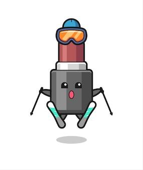 Personagem de mascote de batom como jogador de esqui, design de estilo fofo para camiseta, adesivo, elemento de logotipo