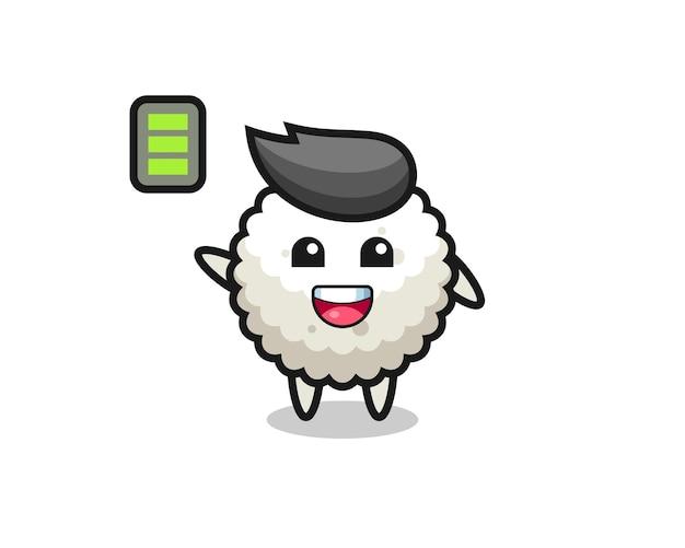 Personagem de mascote de bola de arroz com gesto enérgico, design de estilo fofo para camiseta, adesivo, elemento de logotipo