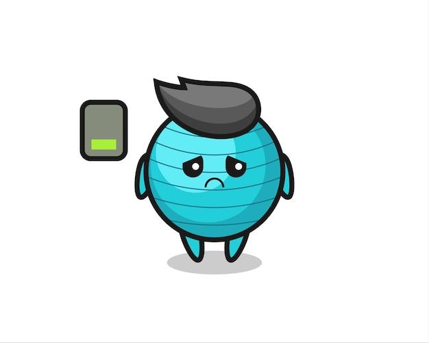 Personagem de mascote de bola de exercício fazendo um gesto cansado, design de estilo fofo para camiseta, adesivo, elemento de logotipo