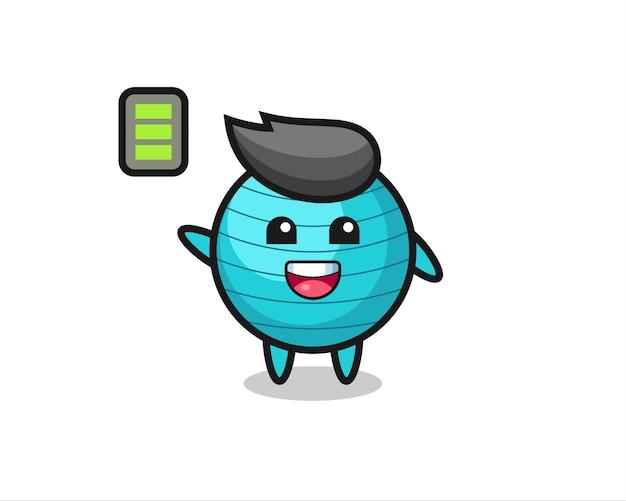 Personagem de mascote de bola de exercícios com gesto enérgico, design de estilo fofo para camiseta, adesivo, elemento de logotipo