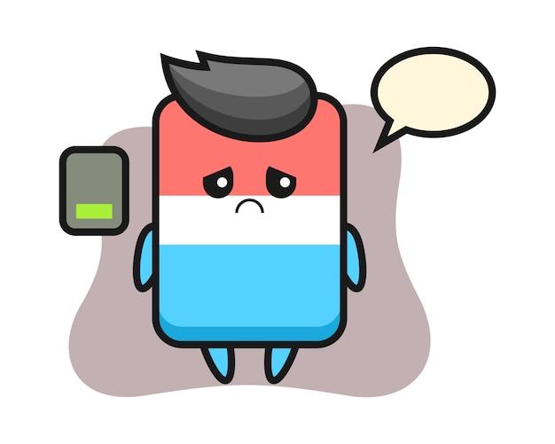 Personagem de mascote de borracha fazendo um gesto cansado, estilo fofo, adesivo, elemento de logotipo