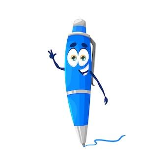Personagem de mascote de caneta escolar engraçada fofa de desenho animado