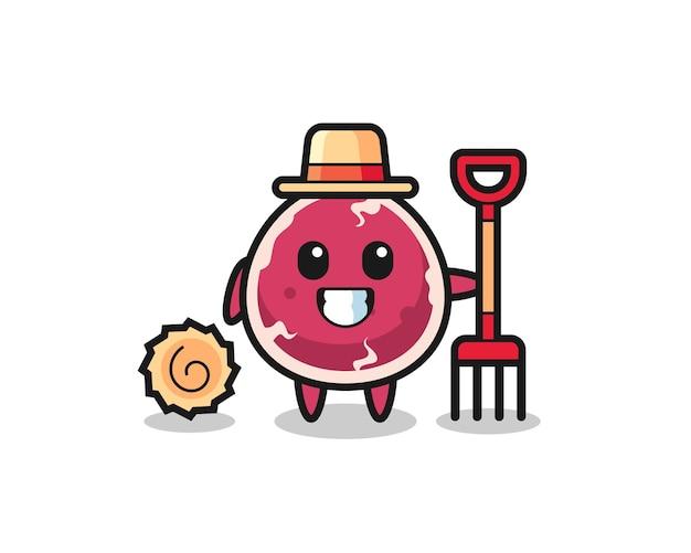 Personagem de mascote de carne bovina como fazendeiro, design de estilo fofo para camiseta, adesivo, elemento de logotipo