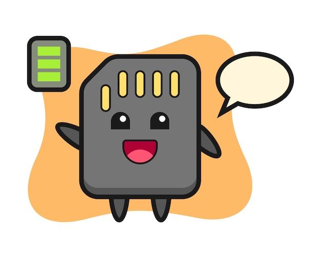 Personagem de mascote de cartão sd com gesto energético, design de estilo bonito para camiseta