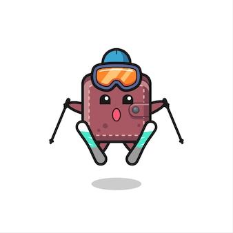 Personagem de mascote de carteira de couro como jogador de esqui, design de estilo fofo para camiseta, adesivo, elemento de logotipo