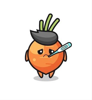 Personagem de mascote de cenoura com febre, design de estilo fofo para camiseta, adesivo, elemento de logotipo