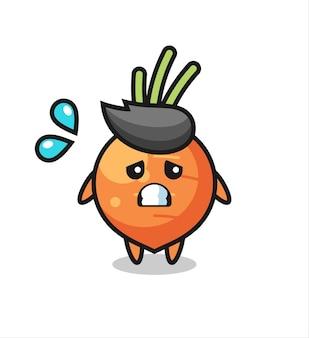Personagem de mascote de cenoura com gesto de medo, design de estilo fofo para camiseta, adesivo, elemento de logotipo