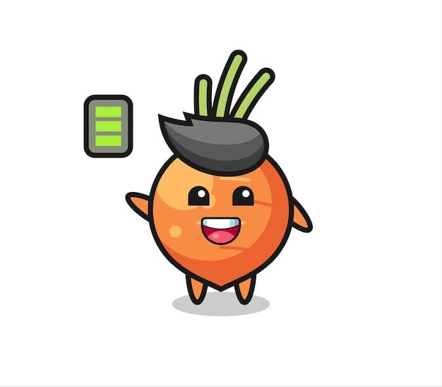 Personagem de mascote de cenoura com gesto enérgico, design de estilo fofo para camiseta, adesivo, elemento de logotipo