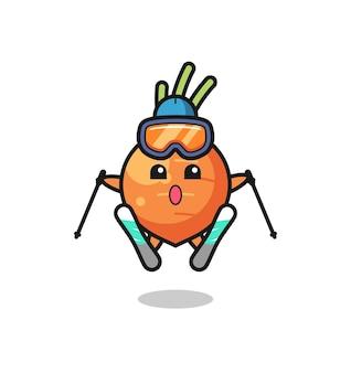 Personagem de mascote de cenoura como jogador de esqui, design de estilo fofo para camiseta, adesivo, elemento de logotipo