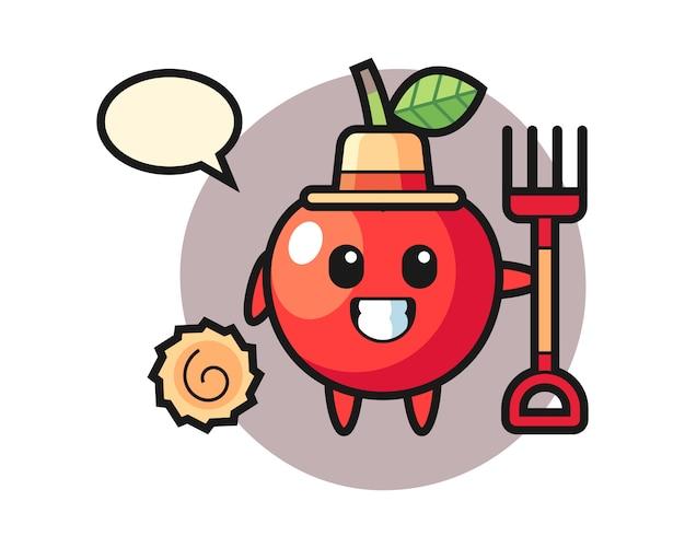 Personagem de mascote de cereja como agricultor, design de estilo bonito