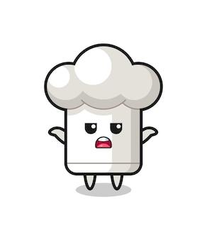 Personagem de mascote de chapéu de chef dizendo não sei, design de estilo fofo para camiseta, adesivo, elemento de logotipo