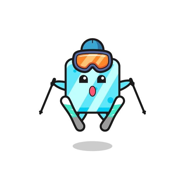 Personagem de mascote de cubo de gelo como jogador de esqui, design de estilo fofo para camiseta, adesivo, elemento de logotipo