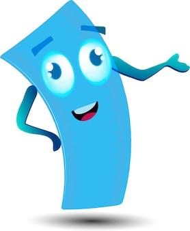 Personagem de mascote de desenho animado bonito governante com mochila