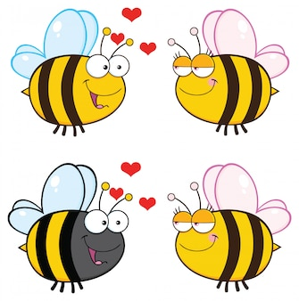 Personagem de mascote de desenho de abelha