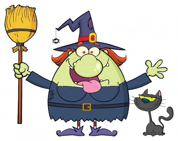 Personagem de mascote de desenho de bruxa feliz segurando uma vassoura