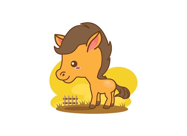 Personagem de mascote de desenho de cavalo sorridente em fundo branco