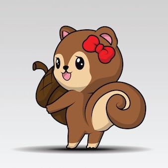 Personagem de mascote de desenho de esquilo bonito segurando uma bolota