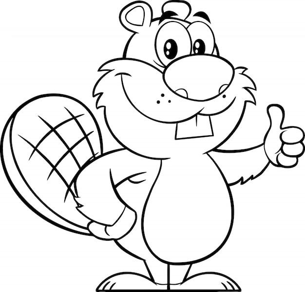 Personagem de mascote de desenho preto e branco castor dando um polegar para cima. ilustração