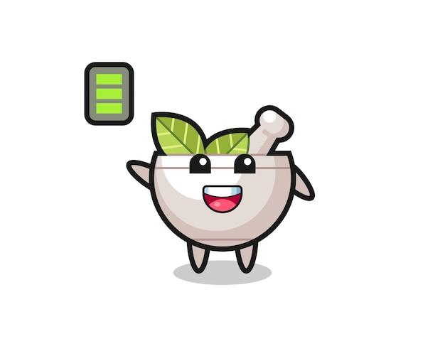 Personagem de mascote de ervas com gesto enérgico, design de estilo fofo para camiseta, adesivo, elemento de logotipo