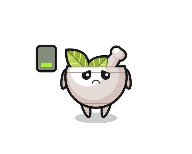 Personagem de mascote de ervas fazendo um gesto cansado, design de estilo fofo para camiseta, adesivo, elemento de logotipo