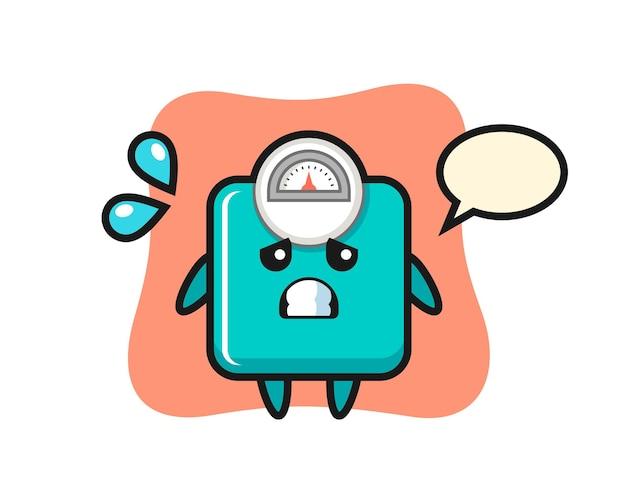 Personagem de mascote de escala de peso com gesto de medo, design de estilo fofo para camiseta, adesivo, elemento de logotipo