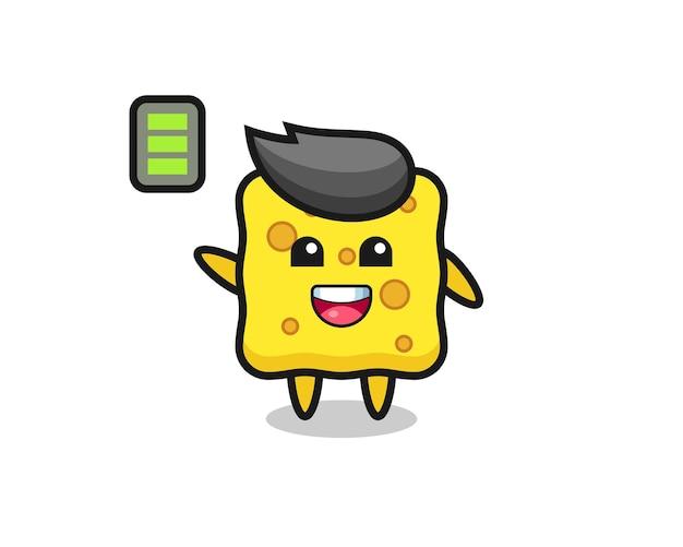 Personagem de mascote de esponja com gesto enérgico, design de estilo fofo para camiseta, adesivo, elemento de logotipo