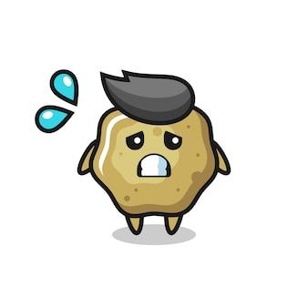 Personagem de mascote de fezes soltas com gesto de medo, design de estilo fofo para camiseta, adesivo, elemento de logotipo