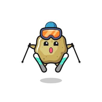 Personagem de mascote de fezes soltas como jogador de esqui, design de estilo fofo para camiseta, adesivo, elemento de logotipo