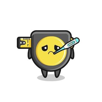 Personagem de mascote de fita métrica com febre, design bonito