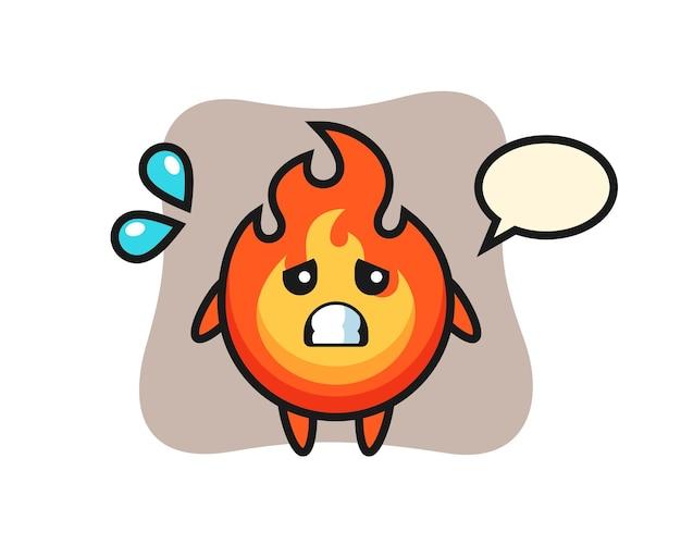Personagem de mascote de fogo com gesto de medo, design de estilo fofo para camiseta, adesivo, elemento de logotipo