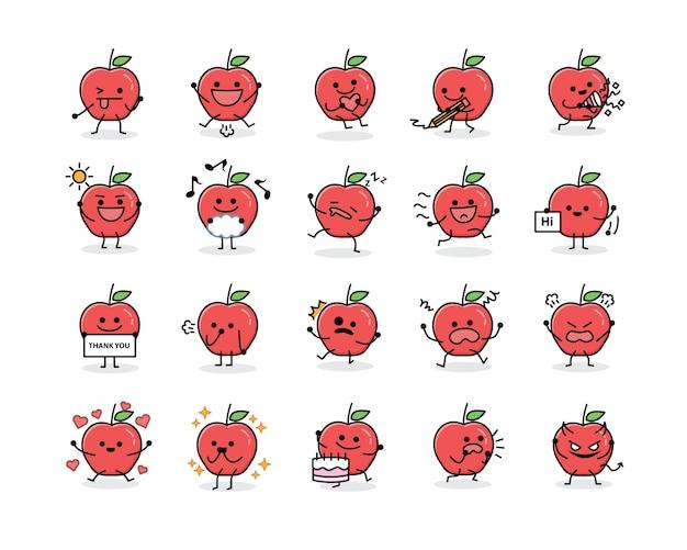 Personagem de mascote de fruta maçã bonito em estilo design plano