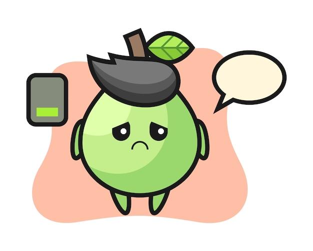 Personagem de mascote de goiaba, fazendo um gesto cansado, estilo bonito para camiseta, adesivo, elemento do logotipo