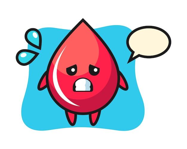 Personagem de mascote de gota de sangue com gesto de medo, estilo fofo, adesivo, elemento de logotipo