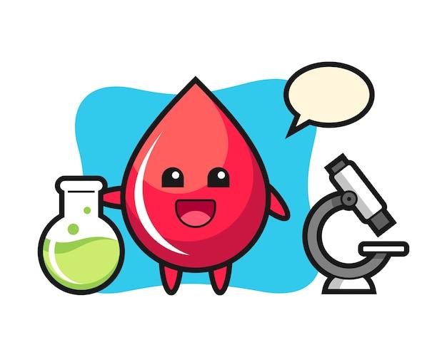 Personagem de mascote de gota de sangue como um cientista, estilo fofo, adesivo, elemento de logotipo